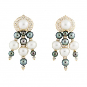 Yellow Gold Diamond and Pearl Earrings